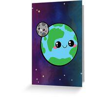 Kawaii Earth & Moon Greeting Card