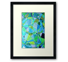 Mosaic Rectangle Blue Green Framed Print