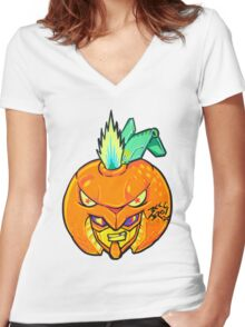 Fruity Hero // Orange Gunner Women's Fitted V-Neck T-Shirt