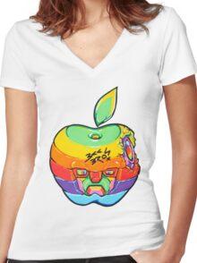 Fruity Hero // Apple Max Women's Fitted V-Neck T-Shirt