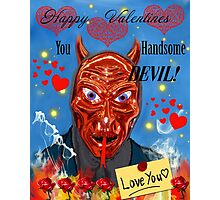 Funny Devil Valentines Card Photographic Print