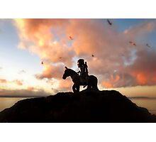 Ninja horseback sunset Photographic Print