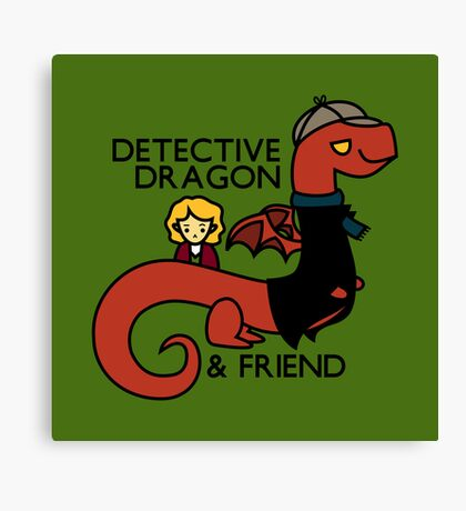 detective dragon & friend - sherlock hobbit parody Canvas Print