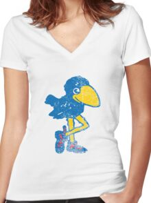 Vintage Jayhawk Women's Fitted V-Neck T-Shirt