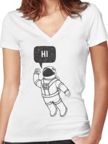Greetings from space Women's Fitted V-Neck T-Shirt