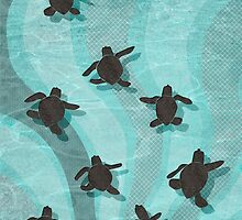 Loggerhead Sea Turtle Hatchlings by Janet Carlson