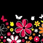 Abstract Flowers w/black background by RocketmanTees