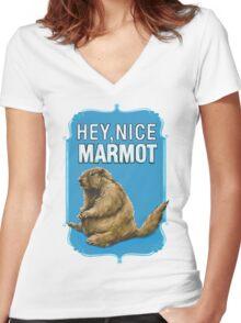 BIG LEBOWSKI- the Dude - Hey, Nice Marmot Women's Fitted V-Neck T-Shirt