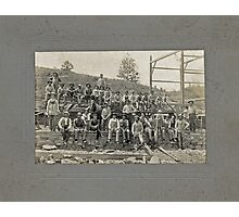 Cabinet Card: Barn Raising c1895 Photographic Print