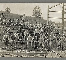 Cabinet Card: Barn Raising c1895 - Cropped by toolemera