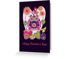 Owl Hearts and text Valentine's day card Greeting Card
