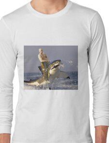 Putin riding a shark (With Background) Long Sleeve T-Shirt
