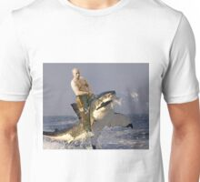 Putin riding a shark (With Background) Unisex T-Shirt