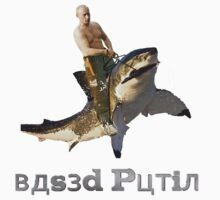 Putin riding a shark (with text) by Frogpen