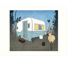 Travel Trailer & Sandhill Crane  Art Print