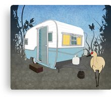 Travel Trailer & Sandhill Crane  Canvas Print