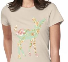 Floral Fawn Womens Fitted T-Shirt