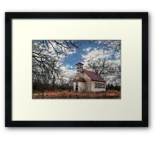 Coldwater Schoolhouse in Winter Framed Print