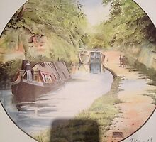 Watercolour canal print by Trevor counsell  by Canalsideart