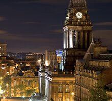 Leeds Town Hall At Night by John Hall
