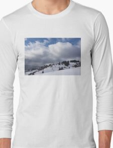 Sunny Snowstorm - a Mountain View to Remember Long Sleeve T-Shirt