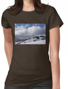 Sunny Snowstorm - a Mountain View to Remember Womens Fitted T-Shirt