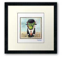 """CATS IN HATS """"Son of Man(x)"""" Framed Print"""