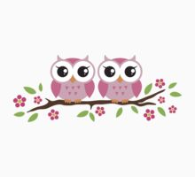 Pink twin baby owls sitting on floral branch, sticker by MheaDesign