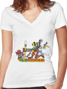 Ome Acatl Tezcatlipoca Women's Fitted V-Neck T-Shirt