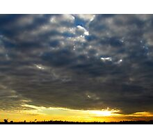 Cloudy sunset over New York City  Photographic Print
