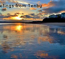 Tenby Sunset - Postcard or Greeting Card by Paula J James