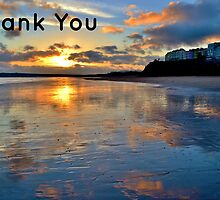 Tenby Sunset - Thank You Card by Paula J James