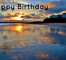 Tenby Sunset - Birthday Card by Paula J James