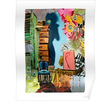 Footprint and Blue Chair Poster