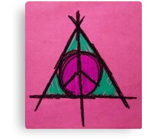 Pink and Green Deathly Hallows Peace Drawing Canvas Print