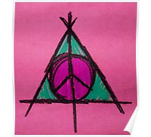 Pink and Green Deathly Hallows Peace Drawing Poster