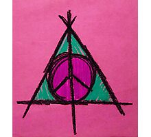 Pink and Green Deathly Hallows Peace Drawing Photographic Print