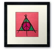 Peach and Green Deathly Hallows and Peace Drawing Framed Print