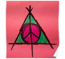 Peach and Green Deathly Hallows and Peace Drawing Poster