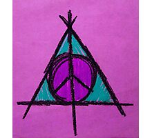 Purple and Green Deathly Hallows and Peace Drawing Photographic Print