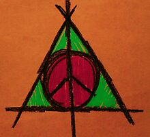 Orange and Green Deathly Hallows and Peace Drawing by Amber Batten