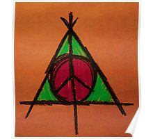 Orange and Green Deathly Hallows and Peace Drawing Poster