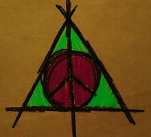 Brown, Pink and Green Deathly Hallows and Peace Drawing by Amber Batten