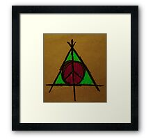 Brown, Pink and Green Deathly Hallows and Peace Drawing Framed Print