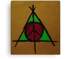 Brown, Pink and Green Deathly Hallows and Peace Drawing Canvas Print