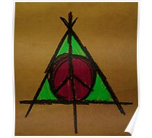 Brown, Pink and Green Deathly Hallows and Peace Drawing Poster