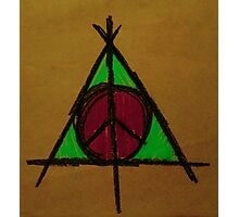 Brown, Pink and Green Deathly Hallows and Peace Drawing Photographic Print