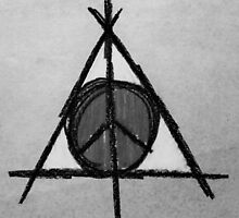 Black and White Deathly Hallows and Peace Drawing by Amber Batten