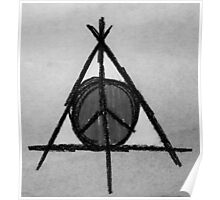 Black and White Deathly Hallows and Peace Drawing Poster