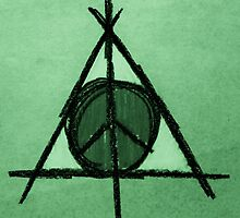 Green Tint Deathly Hallows and Peace Drawing by Amber Batten